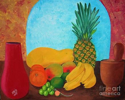 Pilon Vase And Fruits by Iris  Mora