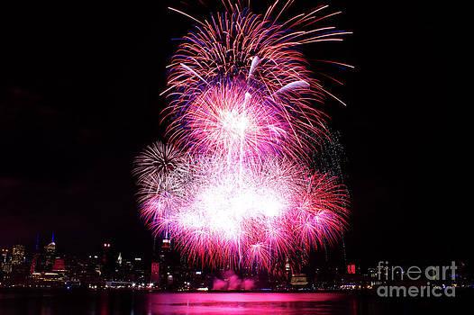 Pink Fireworks At NYC by Archana Doddi