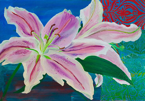 Pink Lilies on Blue by Samar Asamoah