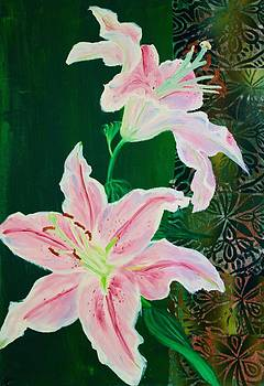 Pink Lilies on Green by Samar Asamoah