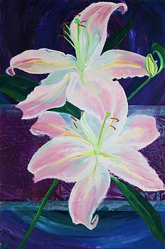 Pink Lilies on Purple by Samar Asamoah