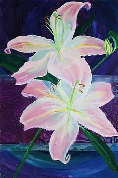 Samar Asamoah - Pink Lilies on Purple