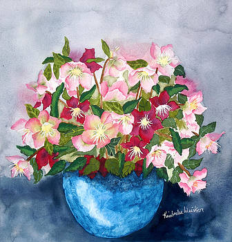 Pinks in a Blue Bowl by Kimberlee Weisker