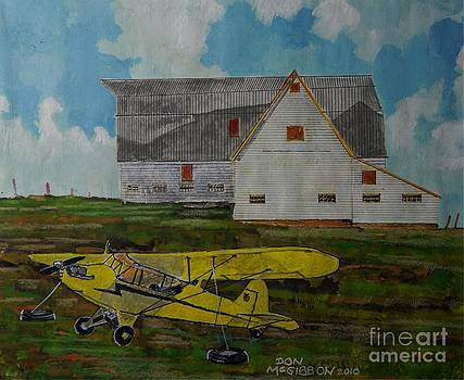 Piper J3 Cub and Barn by Donald McGibbon