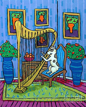Pit Bull Playing the Harp by Jay  Schmetz