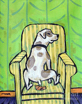 Pit Bull Terrier Doing a Number 2 in a Chair by Jay  Schmetz