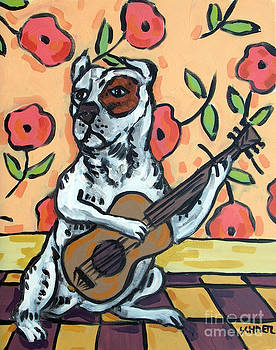 Pit Bull Terrier Playing Guitar by Jay  Schmetz