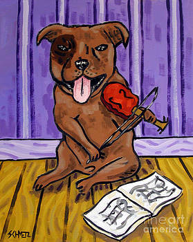 Pit Bull Terrier Playing Violin by Jay  Schmetz
