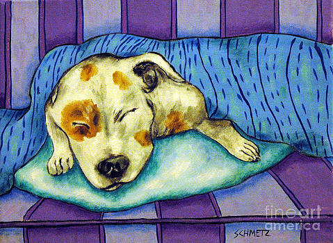 Pit Bull Terrier Sleeping by Jay  Schmetz