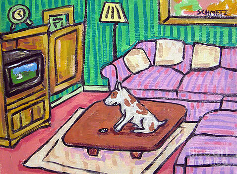 Pit Bull Terrier Watching Television by Jay  Schmetz