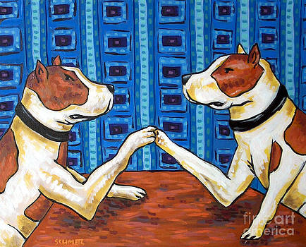Pit Bull Terriers Arm Wrestling by Jay  Schmetz