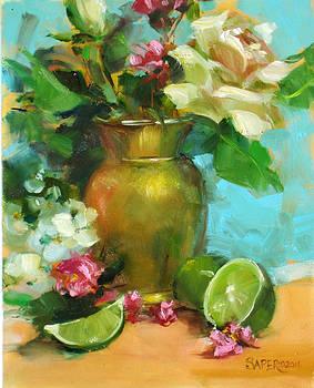 Chris  Saper - Plum Blossoms and Limes