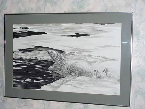 Polar Bear and cubs by Al  Brown