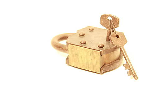 Polished Gold Lock with Keys by Kevin Woolsey