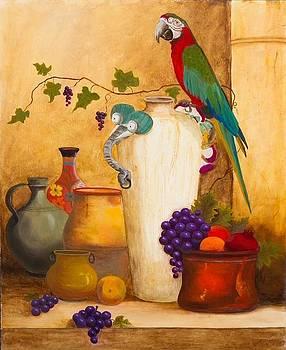 Polly Parrot on an Elephant Jar by Jeanene Stein