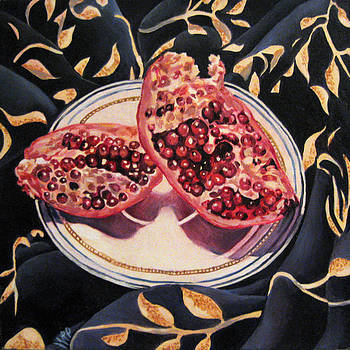 Pomegranate with Blue Fabric by Sharon Mills