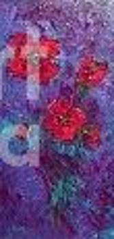 Poppies on blue purple by Jackie Hoeksema