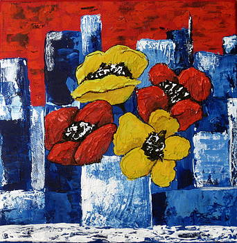 Poppies overlooking the City by Susan McLean Gray