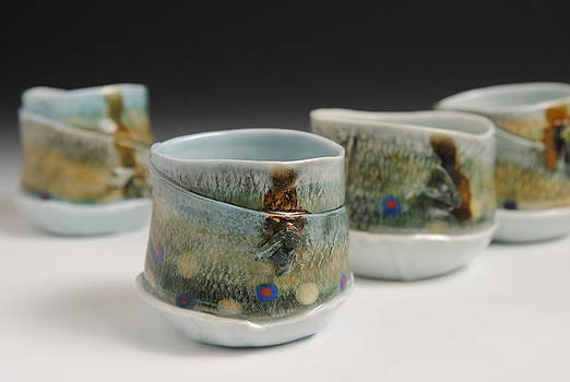 Porcelain Fish Mugs - Set by Mark Chuck