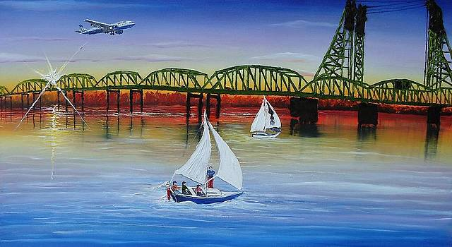 Portland Interstate Bridge 5 At Dusk by Portland Art Creations