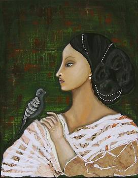 Portrait of a Woman with Bird by LoriAnn Altered-posh