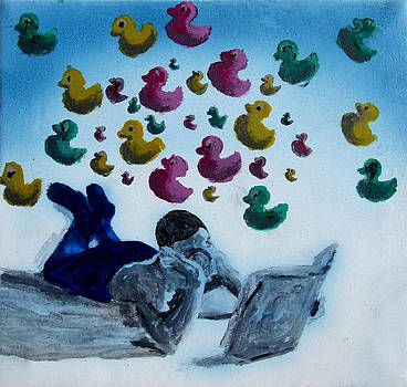 Portrait of Boy Reading Large Book While Laying on Floor and Fantasizing About Ducks Floating Kids by M Zimmerman MendyZ
