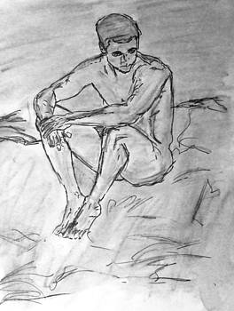 Portrait of Thinking Young Male Seated Figure Nude Watercolor Painting Monochrome Black White Sketch by M Zimmerman