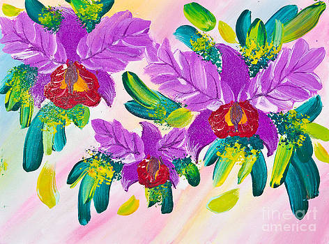 Poster Color Drawing Flowers by Mongkol Chakritthakool