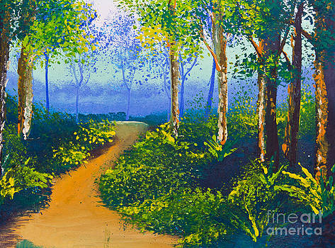 Poster Color Drawing Walk Way In Forest by Mongkol Chakritthakool