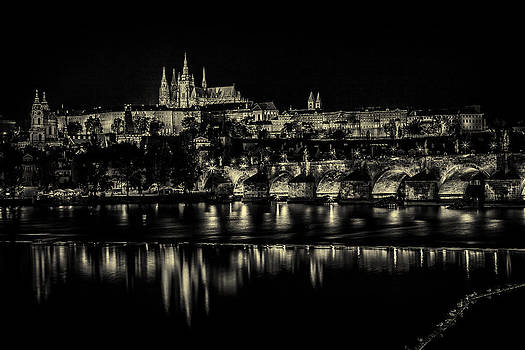 Prague at night light  by Valerii Tkachenko