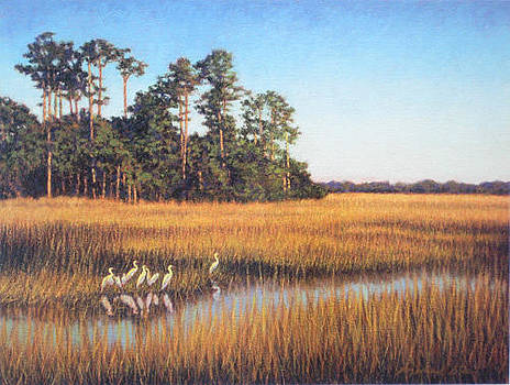 PRINT Egret Gathering by Michael Story