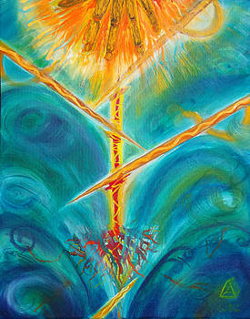 Anne Cameron Cutri - Prophetic Message Sketch Painting 4 Spirit of Denial Cut at the Root