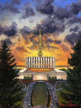 Provo Temple Evening by Jeff Brimley
