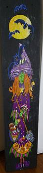 Purky Purple Witch Recycled Wood Folk Art Sign by Pigatopia by Shannon Ivins