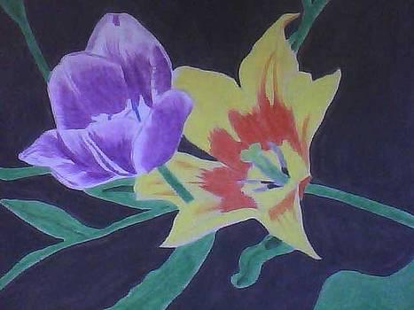 Purple and Yellow Flowers by Cherryl Fernandez