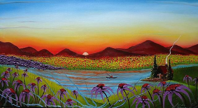 Purple Cone Flowers At Dusk 1 by Portland Art Creations
