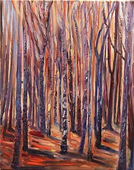 Purple Trees by Linda Woolven