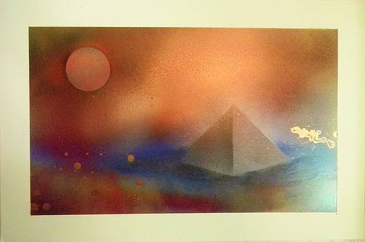 Pyramid and Moon by James Howard