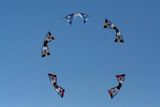 Quad Line Stunt Kite Formation by April Wietrecki Green