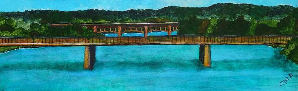 Railroad bridge at Lady Bird Lake Austin Texas by Manny Chapa