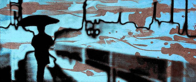 Arte Venezia - Rainy day - Serigraphic art silhouette