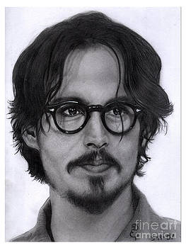 Realistic pencil drawing of Johnny Depp  by Debbie Engel