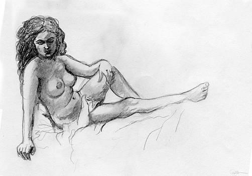 Reclining Nude by Pamela  Corwin