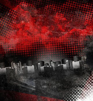 Red and Black City Grunge Background by Angela Waye