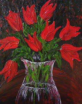 Red Autumn Tulips by Portland Art Creations