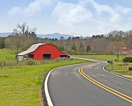 Red Barn and Mountains by Susan Leggett