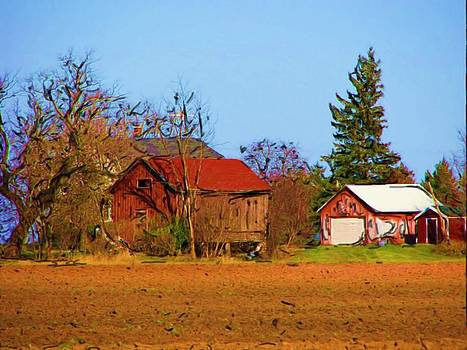 Red Barn On A Fall Day by Victoria Sheldon
