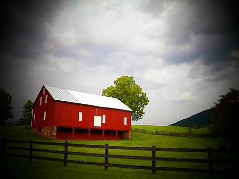 Red Barn on A Stormy Day by Joyce Kimble Smith