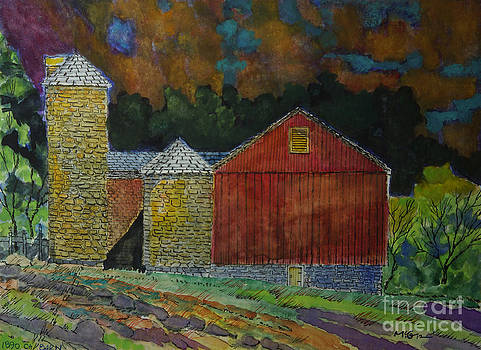 Red Barn With Stone Silos by Donald McGibbon