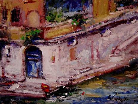 Red boat blue door by R W Goetting